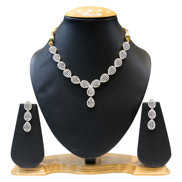 Delicate Beauty Designer American Diamond Necklace Set for Women - The Pink Lane
