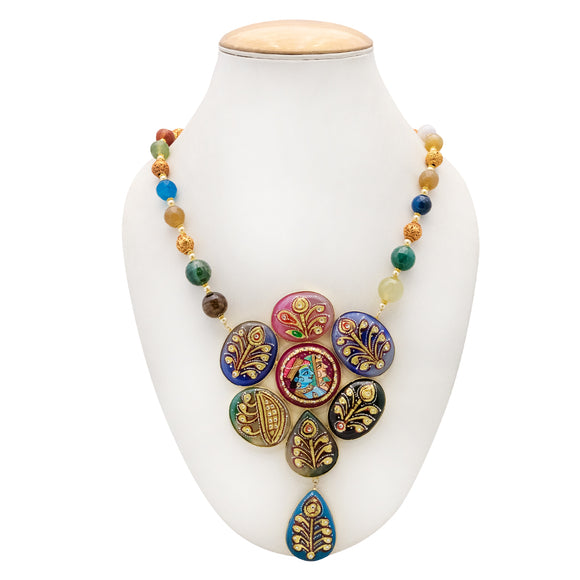 Multicolor Designer Handmade Radha Krishna Necklace for Women - The Pink Lane