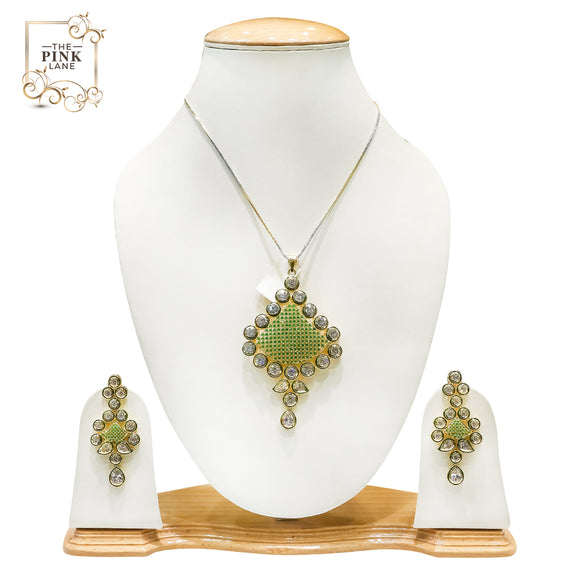 Designer Pendant Set with Semiprecious Stones - The Pink Lane