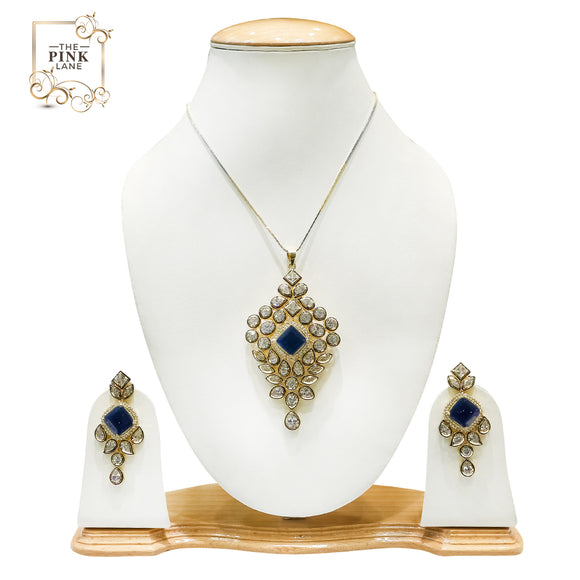 Designer Pendant Set for Women with Blue Stones - The Pink Lane