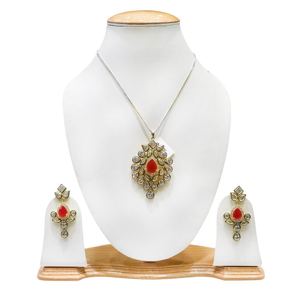 Designer Gold Plated Kundan Pendant Set with Pink Stones