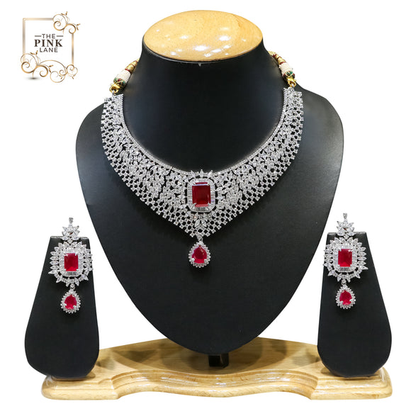 Designer American Diamond Necklace Set with Red Stones For Women