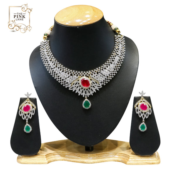 Designer American Diamond Necklace Set for Women with Red and green stones