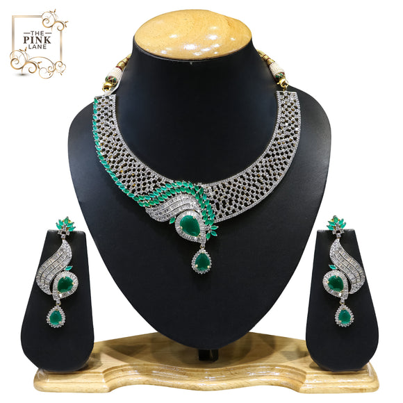 Designer American Diamond Necklace Set with Green Stones - The Pink Lane