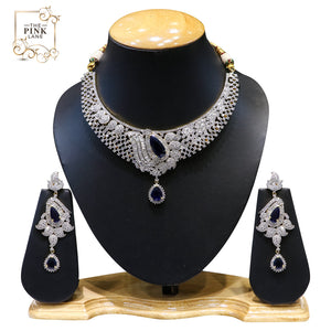 Designer American Diamond Necklace Set with Blue Stones - The Pink Lane