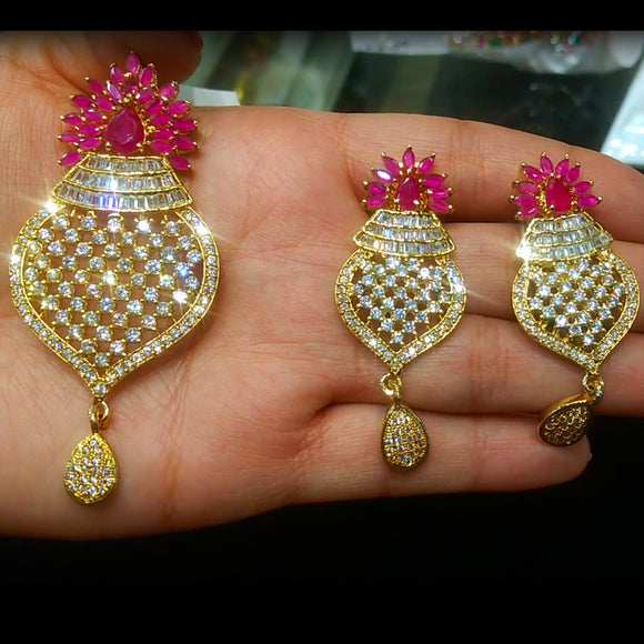 Designer Gold-plated American Diamond and Ruby Pendant Set with Earrings