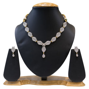 Fancy Party Wear American Diamond Necklace Set for Women - The Pink Lane
