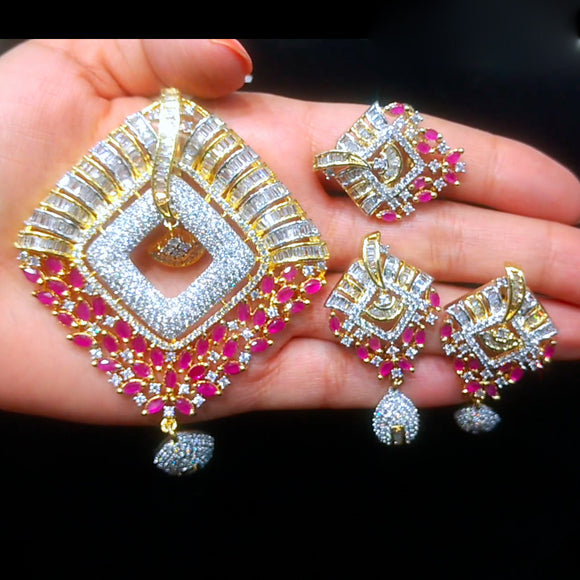 Gold Plated American Diamond & Pink Stones Pendant Set for Women with Earrings & Ring - The Pink Lane