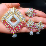 Gold Plated American Diamond & Pink Stones Pendant Set for Women with Earrings & Ring