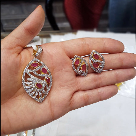 American Diamond Pendant set with Red Stones - The Pink Lane
