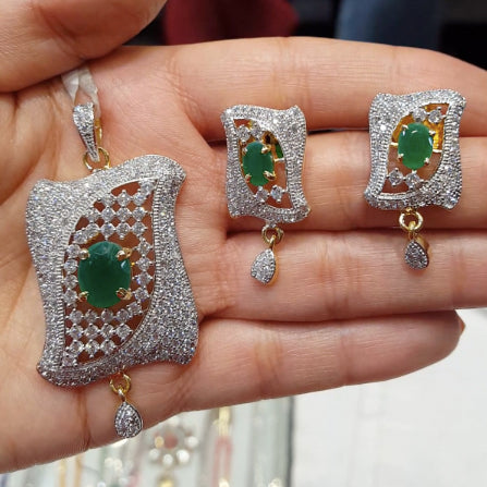 American Diamond Pendant Set with Green Stones - The Pink Lane