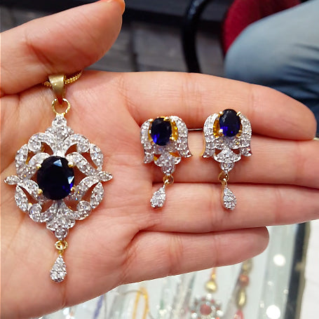 American Diamond Pendant Set With Royal Blue Stones - The Pink Lane