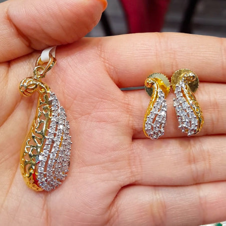 American Diamond Gold Plated Pendant Set for Women