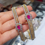 Designer Gold Plated American Diamond Bangle Set with Semiprecious Stones