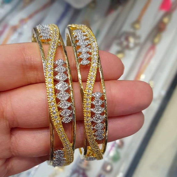 Designer Gold Plated Bangles with American Diamonds - The Pink Lane