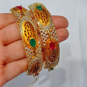 Traditional Gold Plated Bangles with Semi Precious Stones