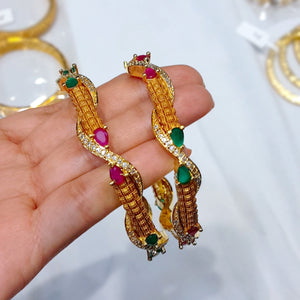 Gold plated Designer Bangle Set for Women with Semi precious Stones