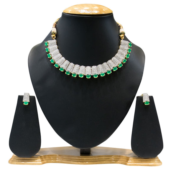 Fancy Party Wear Green Stones & American Diamond Necklace for Women - The Pink Lane