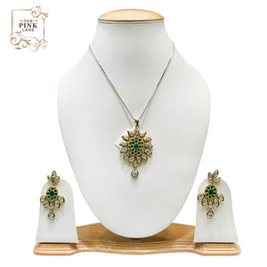 Traditional Gold Plated Polki Pendant Set for Women