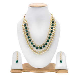 Multisting Necklace with Kundan,Pearls and Green Beads