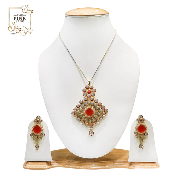 Gold Plated polki Pendant set for women - The Pink Lane