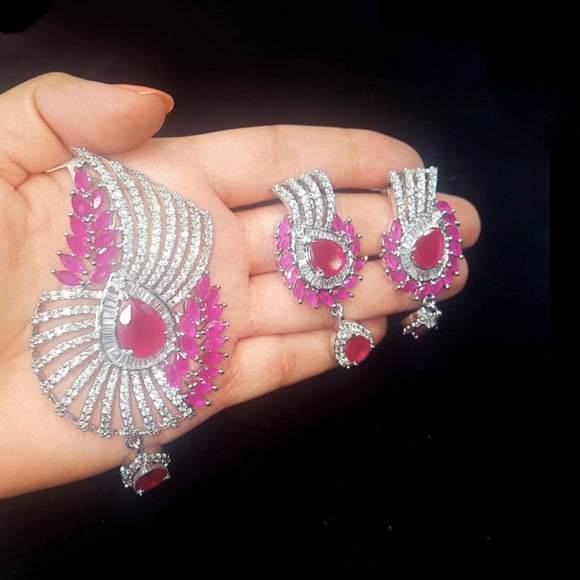 Designer american Diamond Pendant Set with Pink stones