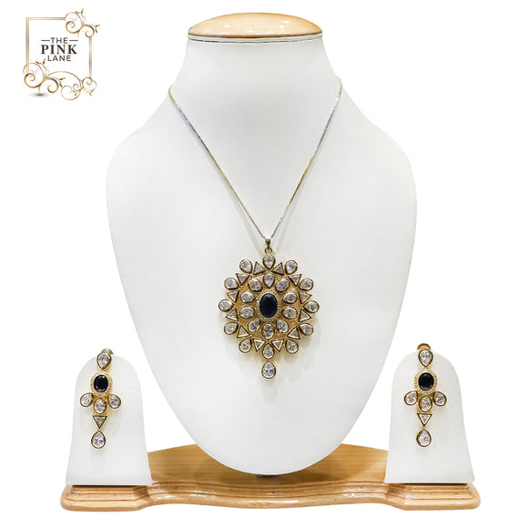 Traditional Gold Plated Polki Pendant Set with Royal Blue Stone Setting for Women - The Pink Lane