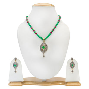 Traditional Party Wear Red & Green Stones Necklace for Women - The Pink Lane