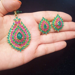 Semiprecious Ruby and Emerald Pendant Set for Women