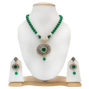 Traditional Party Wear Green Necklace with Pearls for Women - The Pink Lane