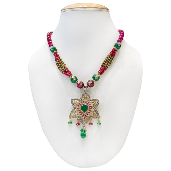 Fancy Red & Green Gold Plated Necklace for Women - The Pink Lane