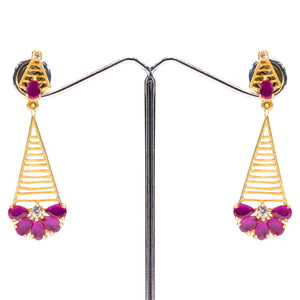 Designer Pink & Gold Drop Earrings for Women - The Pink Lane
