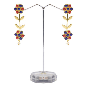 Designer Red Blue and Golden Earrings for Women - The Pink Lane