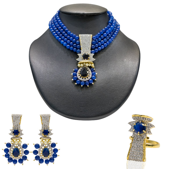 Designer MultiString Blue Pearls Necklace Set with a Ring for Women