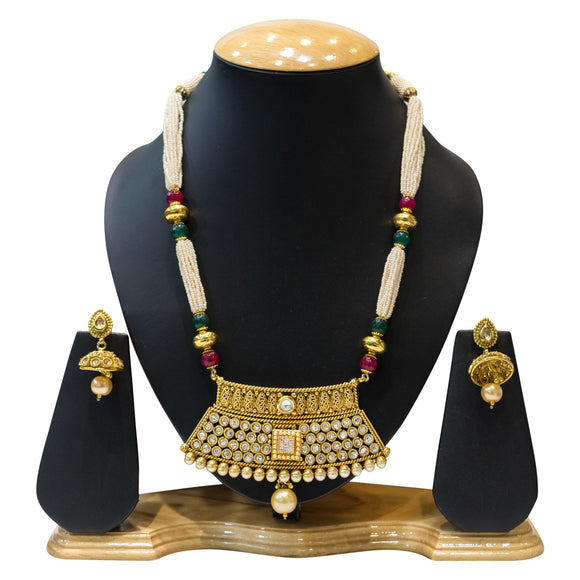Traditional Multi-Colored Kundan and Pearl Necklace Set for Women - The Pink Lane
