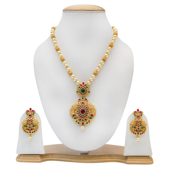 Traditional Gold Plated Multicolored Stone Necklace Set with Pearls for Women