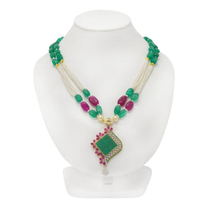 Stunning Red and Green Pendant with Multistring Pearl Necklace