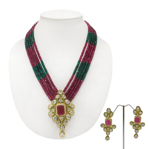 Gold plated Kundan Pendant With Multistring Red and Green Necklace - The Pink Lane