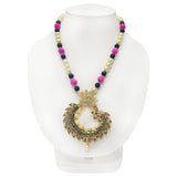 Stunning One of a Kind Pendant with Diamond & Pearl Work with Multicolored Beaded Necklace - The Pink Lane