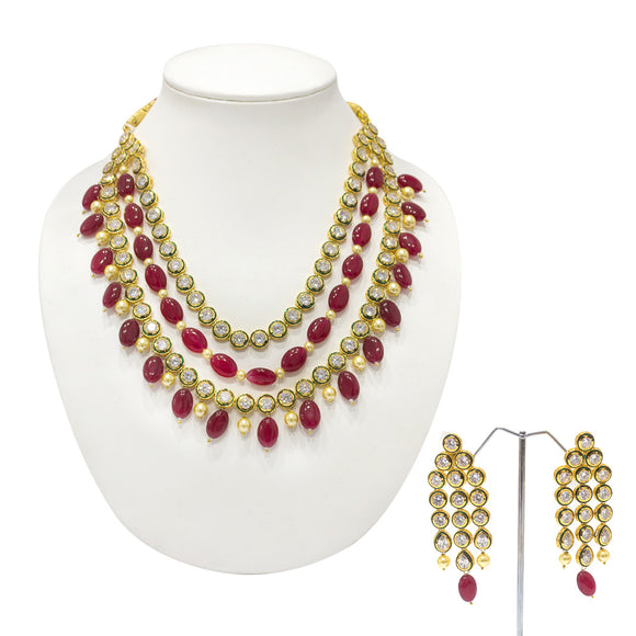 Traditional Kundan and Pearls Studded Multistring Necklace - The Pink Lane