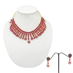 Elegant Ruby Studded Necklace Set for Women