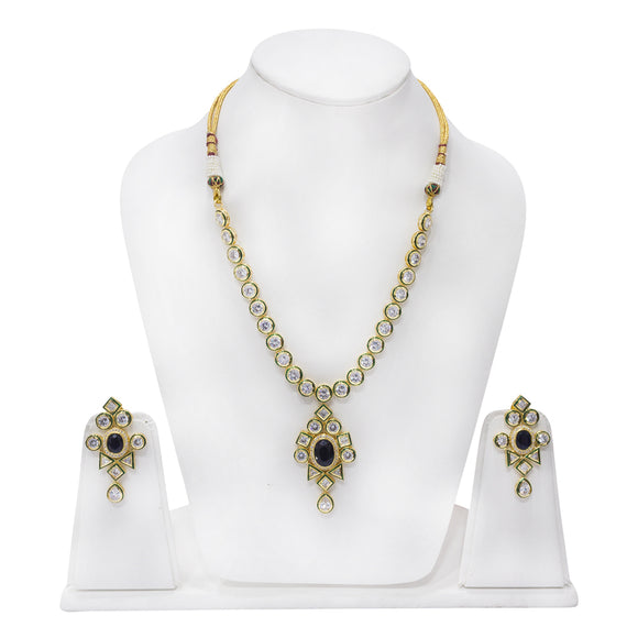 Sparkling Gold Plated Polki Necklace Set for Women - The Pink Lane