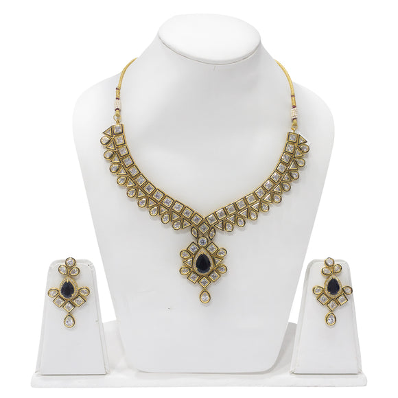 Traditional Gold Plated Polki Studded Necklace Set - The Pink Lane
