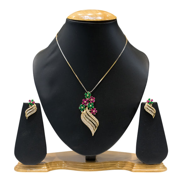 Designer Pendant Set for Women With Multicolored Flower Stones - The Pink Lane