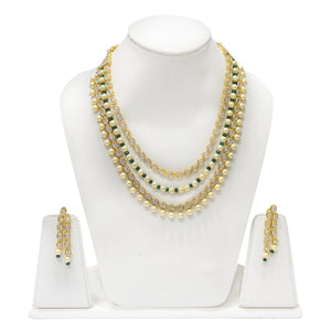 Multistring Kundan and Pearl Studded Necklace - The Pink Lane