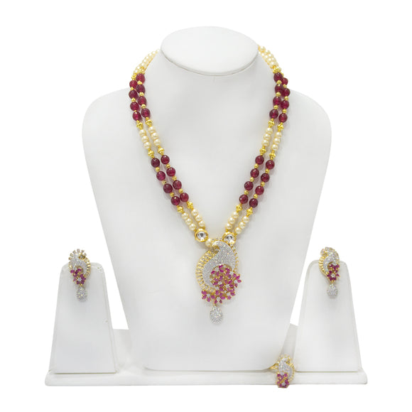 Gold Plated Diamond and Ruby Pendant with Beaded Necklace set - The Pink Lane