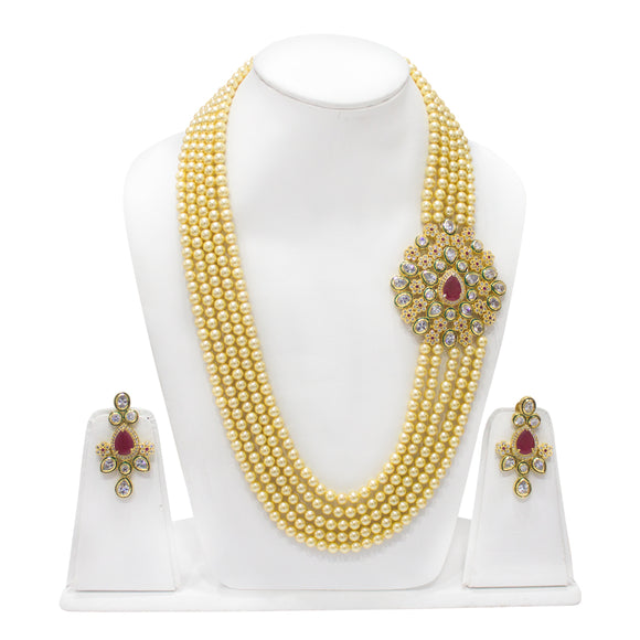 Stunning Kundan Pendant with Pearl Multistring Necklace - The Pink Lane