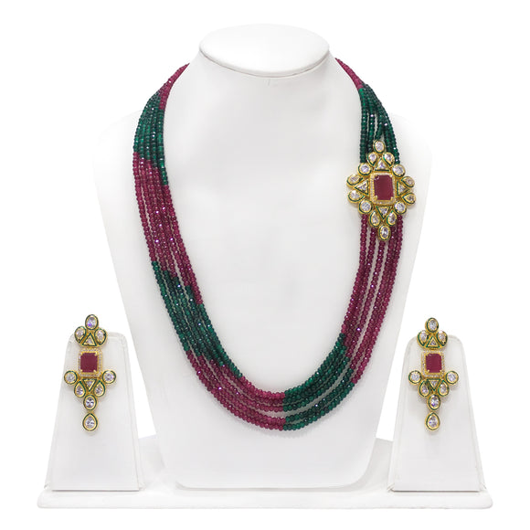 Gold plated Kundan Pendant With Multistring Red and Green Necklace