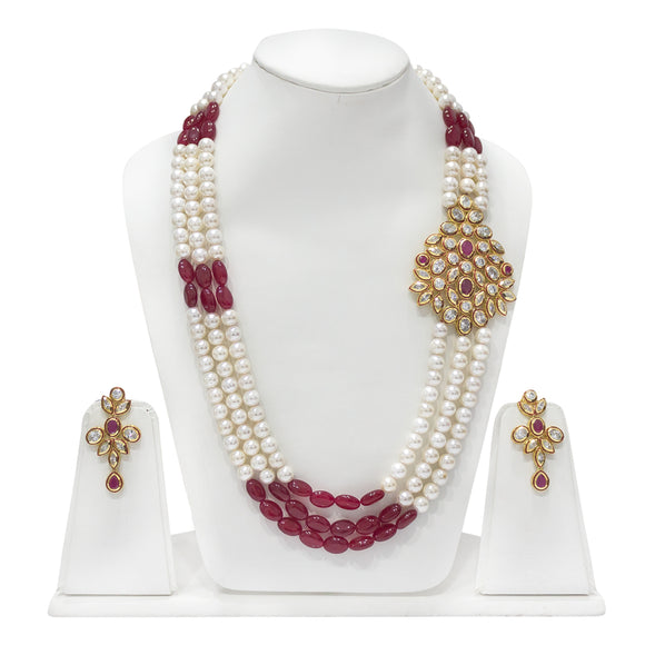 Traditional Kundan and Pearls Studded Multistring Necklace beaded Necklace - The Pink Lane