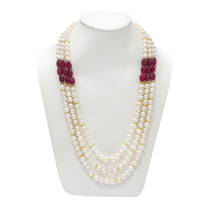 Elegant Red and White Multistring Beaded Necklace - The Pink Lane